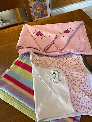 Baby/girls Blankets Towel Cotton M&S Tk Maxx X 3 for sale  Shipping to South Africa
