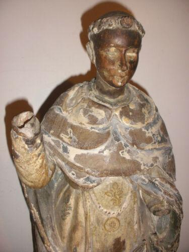 "20"" Antique Spanish Santos 17/18th carved wood Saint Sculpture figure museum"