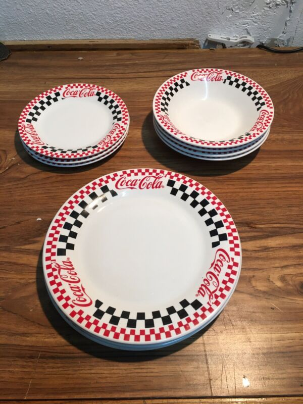 Vintage COCA COLA Gibson Checkered Red Plates 1996 Set of 10