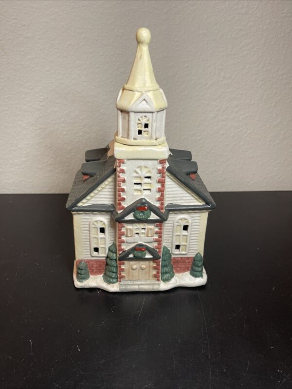 Vintage Hand-Painted Porcelain Christmas Village Cathedral Church Lighted 1994