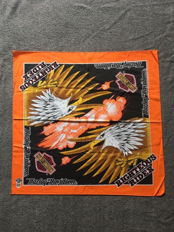 Vintage Harley Davidson Bandana. Righteous Rider. Deadstock. Made In USA