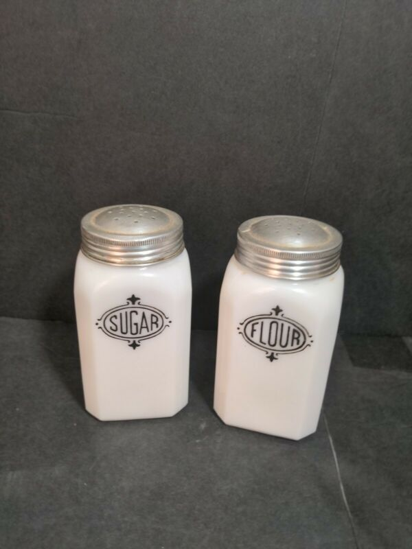 Hazel Atlas  Sugar and Flour Shakers with lids White with Black Label 4 1/2 inch