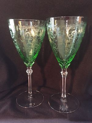 "Two Fostoria VERSAILLES Green 8 1/4"" Water Goblet(s)"