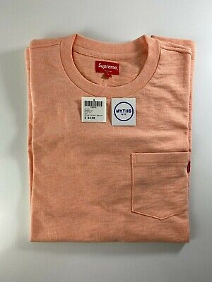 Supreme Pocket Tee Heather Peach Pink SS17 Large BNWT
