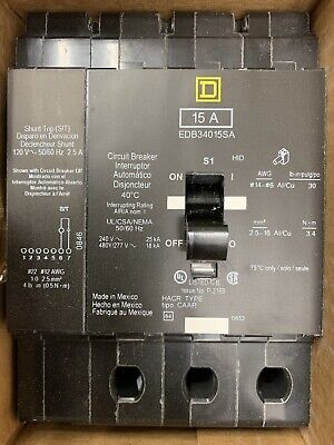 New Sq.d Square D Edb34015sa Shunt Trip 3pole 15a Circuit Breaker 480y277