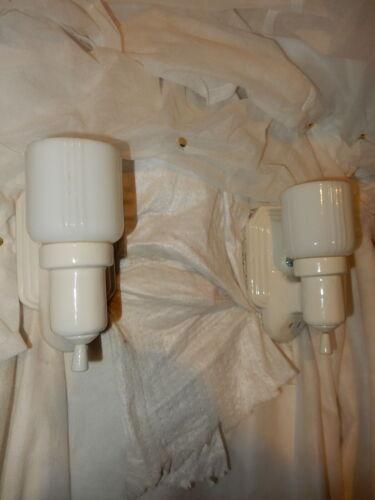 Deco Bungalow Bathroom Porcelain Sconces w/ Original Milk Glass Glass Shades
