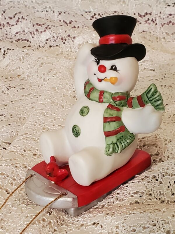 Vintage Enesco Frosty The Snowman Riding Sled  Christmas Figurine