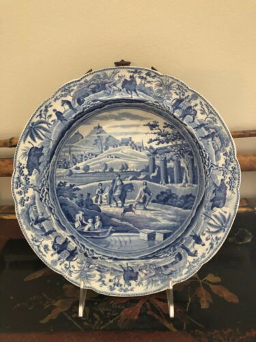 Old Spode Blue Pictorial Transfer Soup Bowl