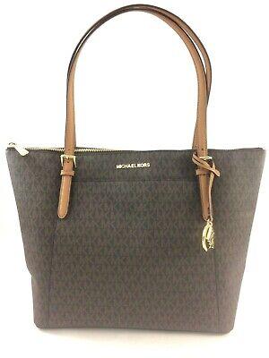 NEW Authentic Michael Kors Ciara EW Large Top Zip Tote Shoulder Bag Purse Brown