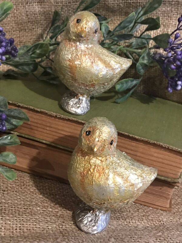 Set Of 2~Vintage Inspired Foil Covered Yellow Chick Figurines~Easter Spring