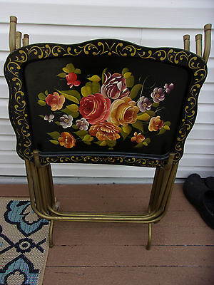 4 Metal Mid-Century Vintage Floral TV Trays With Stand