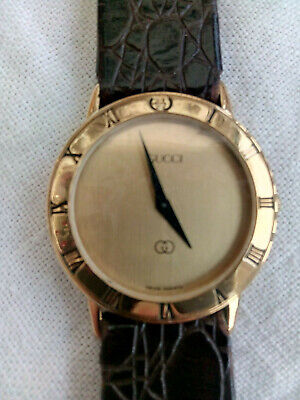 Vintage Genuine Gucci Unisex Gold Tone Watch with Leather Strap - 04-3100-397