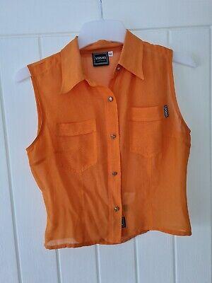 Versace Jeans Couture Bright Orange Blouse Medium vintage