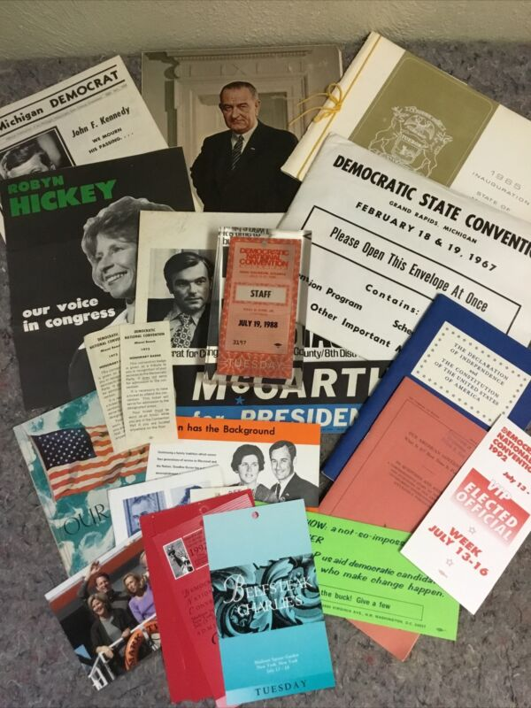 Lot Of Mixed Political Ephemera-Mostly DNC-1964-92