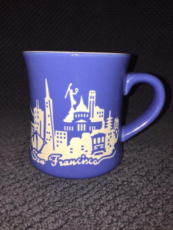 SF MERCANTILE San Francisco Etched Skyline Blue Coffee Tea Mug