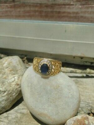 10k gold sapphire ring with dragonflies and bees
