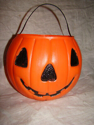 Halloween Treat Containers (Vtg HALLOWEEN JACK-O-LANTERN PUMPKIN Black Cat Candy Container)