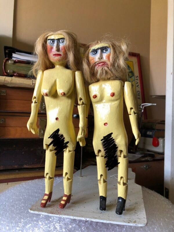 Crazy Vintage Folk Art Carved Jointed Wood Nude Dolls, Dancing, Artist Outsider