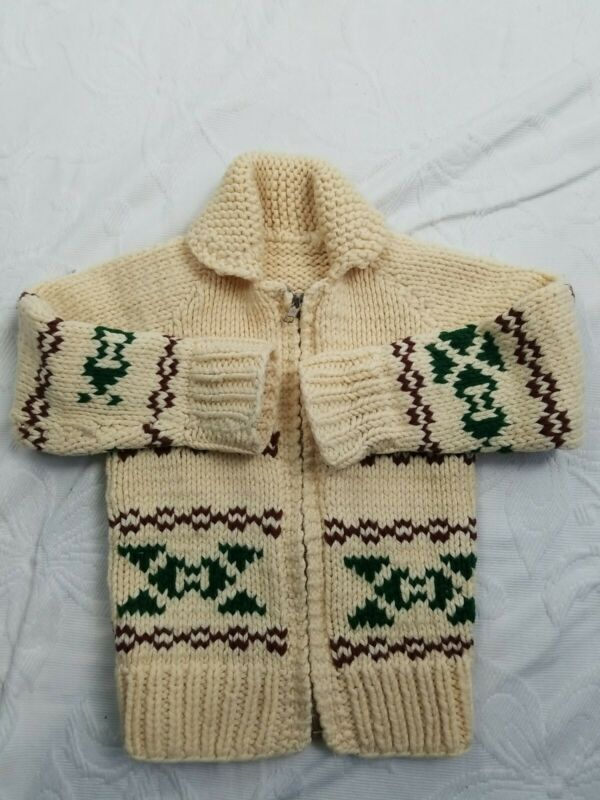 Vintage Handknitted Cowichan Sweater Wool/Cotton Kids Toddler 2T 3T Zip