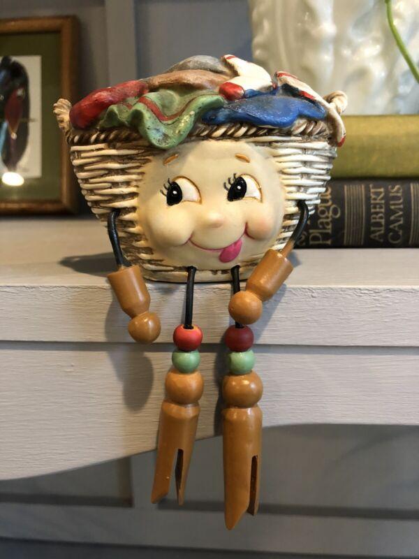 WMG Anthropomorphic Shelf Sitter Laundry Clothes Basket Figurine