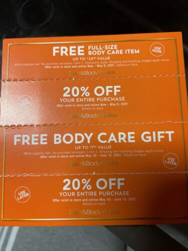 4 BATH BODY WORKS COUPONS 2 20 OFF ENTIRE PURCHASE GIFT Body Care Gift - $22.00