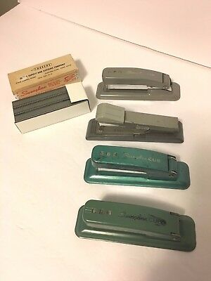 Set Of 4 Cub Staplers Vintage Swinglinebostitch Small Size Art Deco