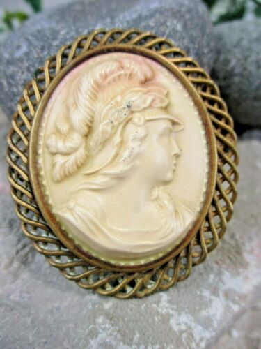 Celluoid CAMEO Authentic VINTAGE Estate BROOCH Pin