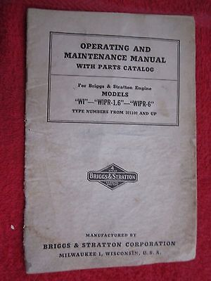 1940s Briggs Stratton Wi Wipr Engine Operators Maintenance Parts Manual