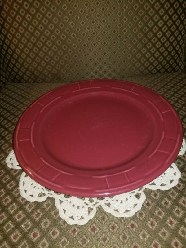 """1 Longaberger Woven Traditions Pottery Paprika (Red) Dinner Plate 10""""~USA!"""