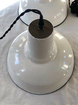 Vintage White Industrial Enamel Pendant Light, White Barn Light, New Wiring