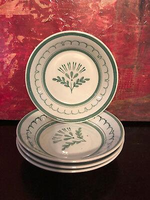 "4 Vintage ARABIA of Finland Green Thistle 5"" Berry Fruit Dessert Rice Bowls 1960"