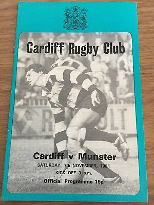 Cardiff Vs Munster Rugby Matchday Programme 07/11/1981 Free Postage!