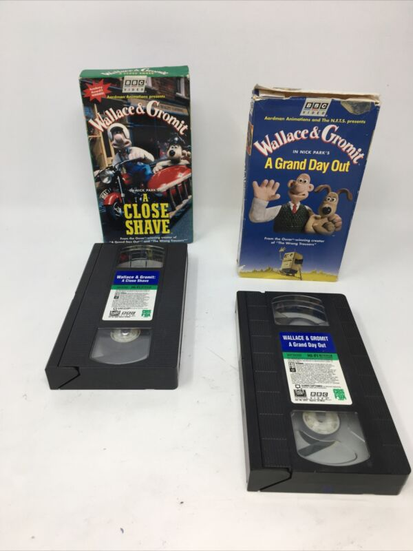 WALLACE & GROMIT VHS NTSC, set of 2 classic animations A close Shave