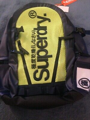 New Superdry Mesh Tarp Backpack (Dark Navy/Lime WOW‼️