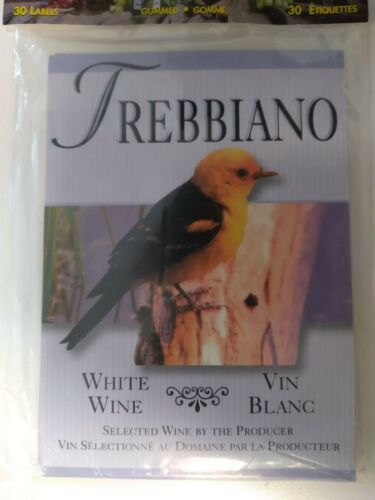 Trebbiano Wine Bottle Labels-Gummed Adhesive-pack of 30