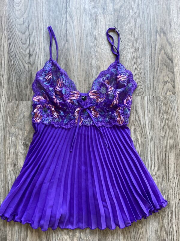 Vtg Mesh Lace Trim Cami Sz Med Purple Pleeted At Bottom 🔥