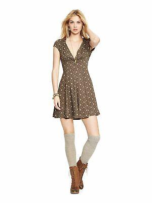 RALPH LAUREN DENIM & SUPPLY $98 Womens 2465 Green Floral Fit + Flare Dress 2XS