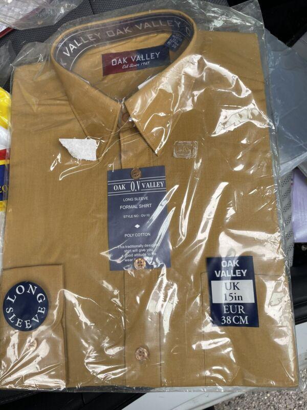 Brand+New+Mens+Shirt+15%E2%80%99+Collar+Long+Sleeved+Oak+Valley