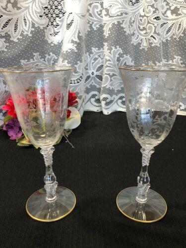 "Set of 2 Cambridge ""Wildflower - Gold Trim"" Water Goblets 8 1/4"""