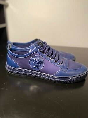 Versace Medusa Men's Blue Leather Fashion Sneakers Shoes US 9 IT 42