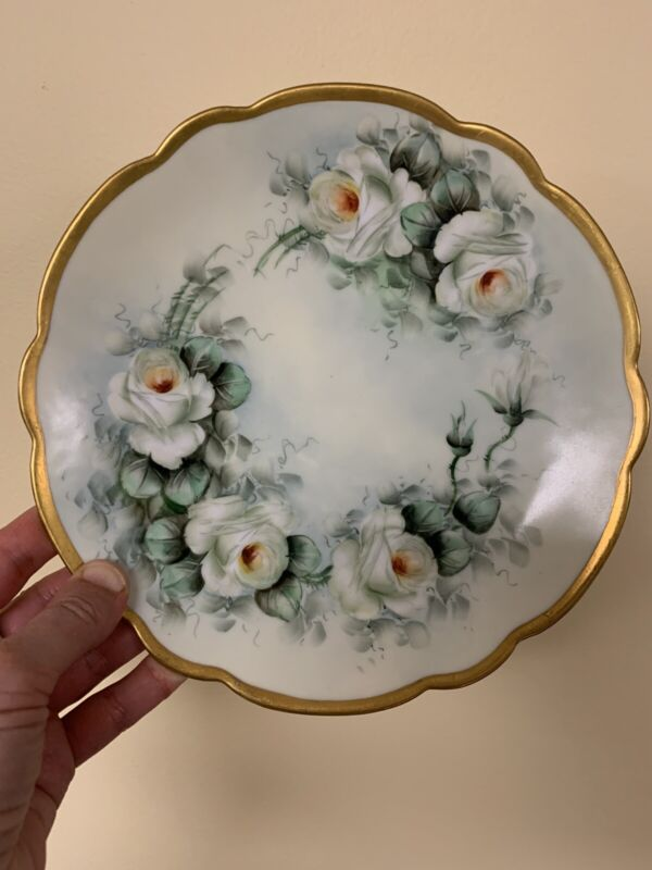 Antique Bavarian Porcelain Plate Hand Painted Climbing Roses .8 3/5 inch