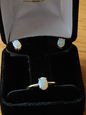 Opal ring and earrings set in 14k yellow gold - perfect Holiday gift