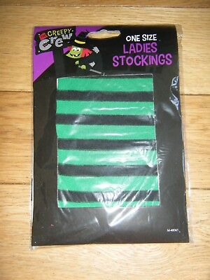 WOMENS GREEN STRIPED PAIR OF STOCKINGS BN WITCH HALLOWEEN FANCY DRESS - Witch Couple Costume
