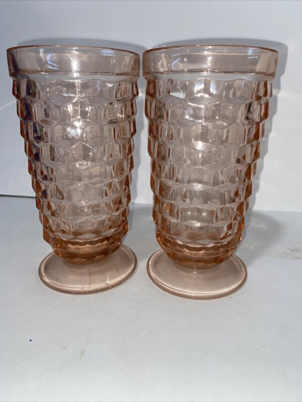 SET of 2 Federal SHARON Pink Depression Glass 15 Oz FOOTED ICED TEA TUMBLERS