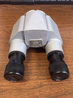 Carl Zeiss Straight Binocular Model F160 W Two 12.5x Eye Pieces. No Reserve.