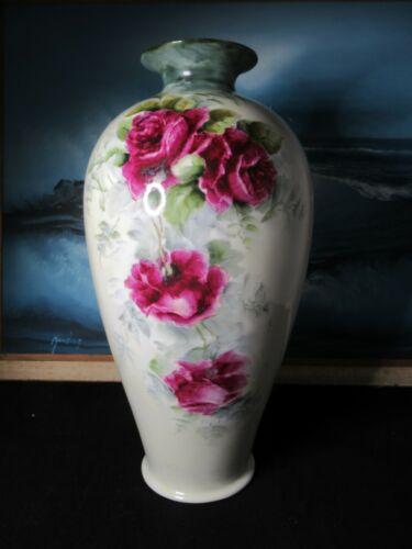 Lenox American Belleek Hand Painted Roses Tall Vase Circa 1906-1924 VICTORIAN