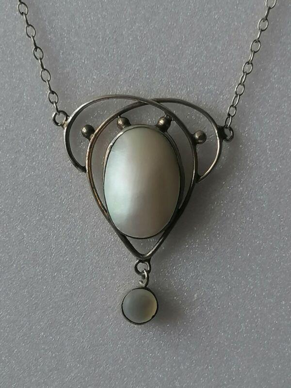 Antique Arts Crafts Edwardian Nouveau Lavalier Mother Pearl Pendant Necklace