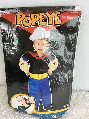 Popeye Boys Toddler Halloween Costume S 24 Months 2T Hat Shirt Pants Muscle Arms](Toddler Boy Halloween T Shirts)