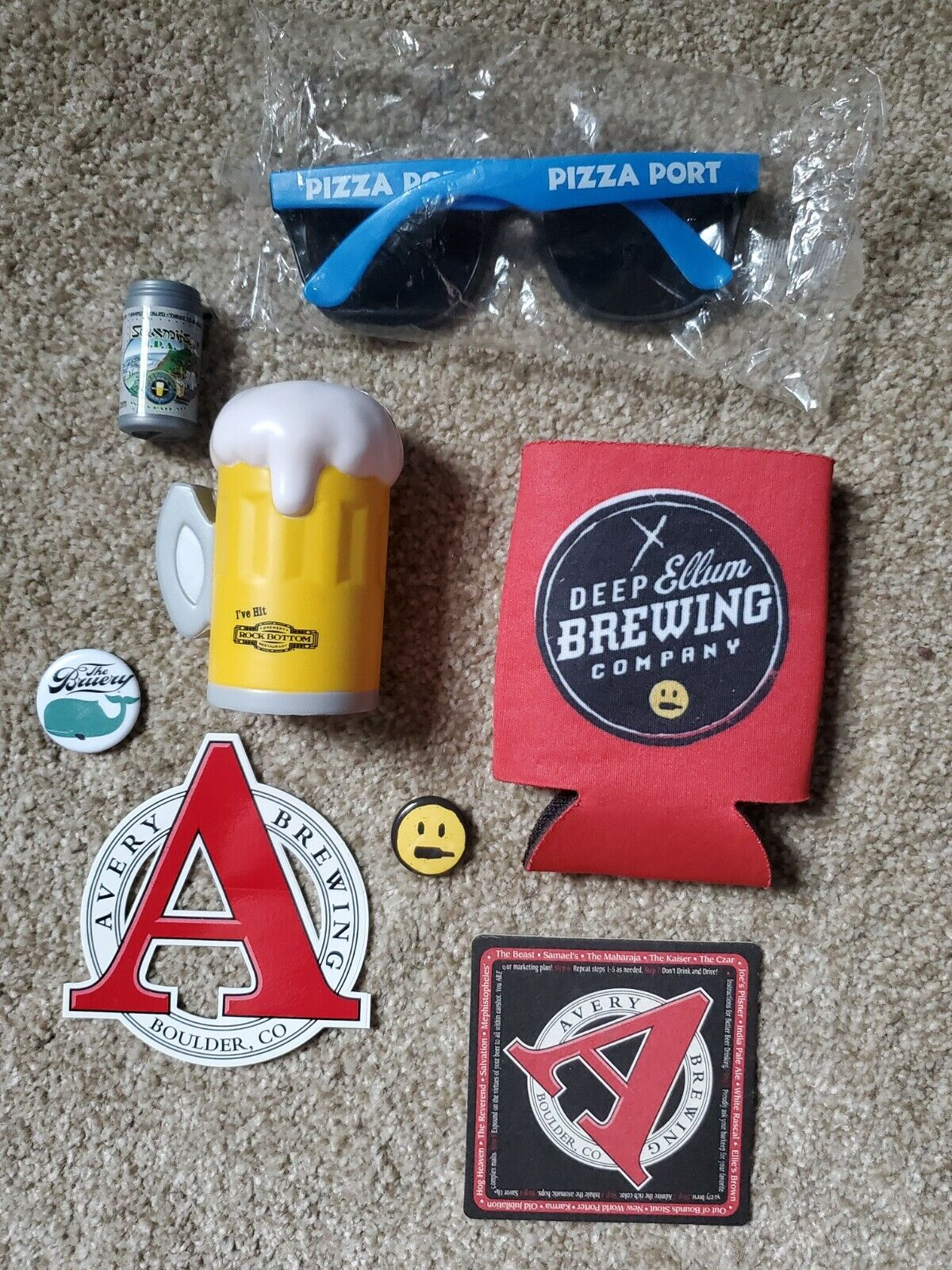 Craft Beer Brewing Swag Pack LOT Avery, Pizza Port, The Bruery, Deep Ellum MORE - $8.95