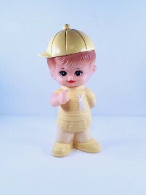 Squeak Buddy - Vintage 1971 Iwaisan Yellow Rubber Squeak Boy Made in Korea Stahlwood Play Pal